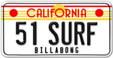 California Surf car Van Surfboard Kayak Bmx windsurfing skate number plate usa