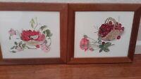 "Set of 2 Vintage Wood Framed Roses&Berries Prints 14""x12"" Wall Decor Art EUC"