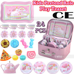 Kids Metal Pretend Role Play Kitchen Teaset Playset + 9 Cakes Carry Case Teapot