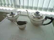 VINTAGE THREE PIECE SILVER PLATED TEA SET RIBBED DESIGN