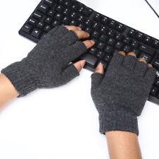 Man Warm Knit Wool Fingerless Half Finger Mittens Stretch Gloves Outdoor Indoor