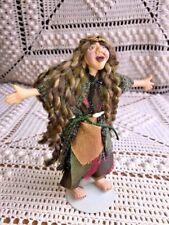 "Hippie Fairy Troll Shrek Long Hair Rapunzel Unique One Of A Kind Doll Fantasy 6"""