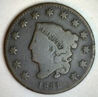 1831 Coronet Large Cent US Copper Type Coin Good M5 Genuine Penny