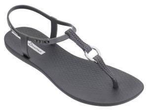 Ipanema Women`s Sandals Premium Link IPA Dark Grey Brazilian Sandal NWT