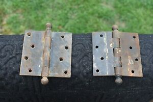 """2 old Door BUTT HINGES 2X4"""" reclaimed/salvaged vintage iron 5 knuckle fixed pin"""