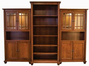 """Large Amish Executive Bookcase 3-Pc Solid Wood Traditional Glass Doors 115""""w"""