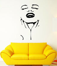 Vinyl Wall Decal Marilyn Actress Star Beautiful Sexy Woman Face Stickers 1756ig