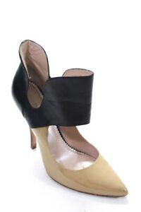 Jean Michel Cazabat Womens Cutout Bootie Pumps Beige Black Leather Size EU 39.5