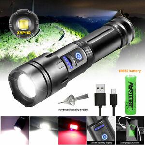 XHP160 LED Taschenlampe Scheinwerfer Fackel USB Wiederaufladbarer Licht COB Lamp