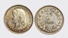 OLANDA - WILHELMINA -AG/ 25 CENTS 1894   RARA !