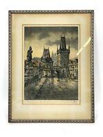 Antique Colored Etching Prague Hand Signed Framed Print