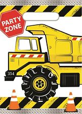 Construction Builder Party 8 Plastic Loot Lolly Treat Favour Bags Birthday Truck