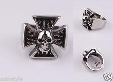 New Men's 316L Stainless Steel Chopper Punk Skull Cross Biker Ring US Size 9-14