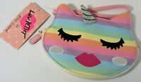 NEW Luv Betsey Johnson Unicorn Face Rainbow Kitty Cat Wristlet Coin Purse Hello