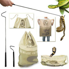 Extendable Pocket Snake Hook Reptile Tongs + Large Snake Drawstring Catcher Bag