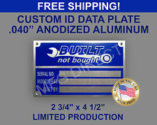 CUSTOM SERIAL NUMBER NAME PLATE DATA IDENTIFICATION SPECIAL VEHICLE ID TAG VIN