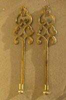 VTG Brass ORNATE Candle Holder SCONCES Pair SCROLL Key Hole