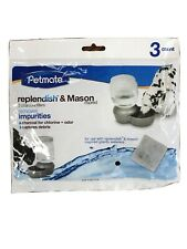 1 3pack Petmate Replendish & Mason Charcoal Replacement Filters Pet Dog Waterer