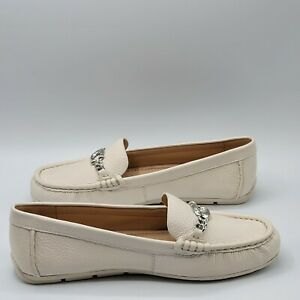 Coach Womens Maegan Driver Chalk Leather Loafers Size 7.5B