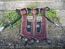 Antique Asian embroidery hanging objects - south Asian Tibet Nepal metal drops