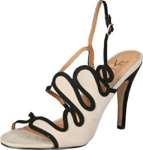 CLEARANCE SALE! Versace 19.69 Margot – Beige / Black Sandal Heels – 50% Off!