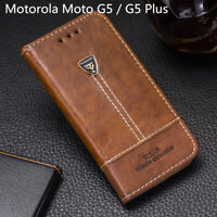 For Motorola Moto G5 Case Flip PU Leather Back Cover Stand Wallet Moto G5 Plus