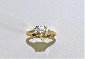 14kt Yellow Gold Diamonique Cubic Zirconia Ring size 7.