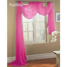 Fuchsia HOT PINK  SCARF SHEER VOILE WINDOW TREATMENT CURTAIN DRAPES VALANCE