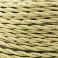 TAN Cotton Cloth Covered Twisted Electrical Wire - Lamp Cord - Antique Fan