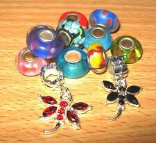 SET OF EUROPEAN CHARM BEADS MURANO GLASS MIX3