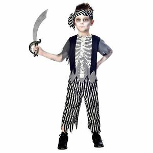 Boys Zombie Pirate Costume Halloween Undead Corpse Kids Fancy Dress Outfit