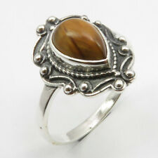 Yellow & Brown TIGER'S EYE Ring Size 8 925 Sterling Silver Women Jewelry