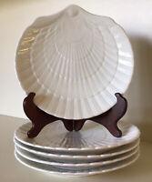 "Mikasa~Ocean Jewel White ~ Set Of Five 8 1/2"" Salad-Dessert Shell Plates~ #EH900"