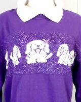 vtg 80s pastel Sweater Sweatshirt Purple White Dogs Puppies Bows Kawaii 18W 38