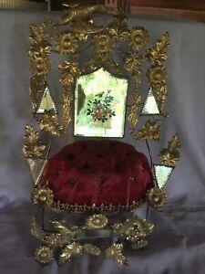 C1800's Globe De Mariee French Ormolu Bridal Wedding Chair