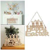 Easter Wooden Decoration Bunny Happy Easter Door Hanging Pendant Rabbit Y0R1