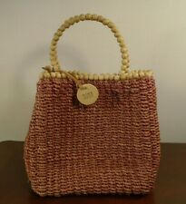 Nine West Brown Woven Straw Purse Handbag Tote with Beaded Handle