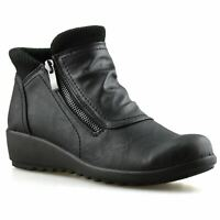 Ladies Womens Mid Flat Wedge Heel Zip Up Winter Warm Ankle Boots Work Shoes Size