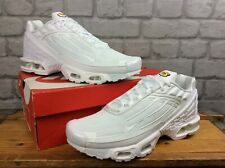NIKE MENS UK 9 EU 44 AIR MAX PLUS 3 TUNED UP TRIPLE WHITE TRAINERS RRP £150 T