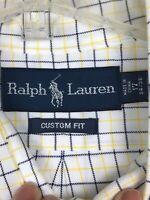 Ralph Lauren Yellow Blue Gingham Cotton Button Down Shirt Custom L/S Men's 17