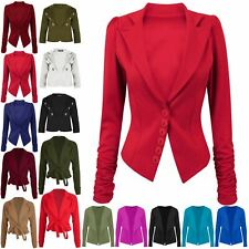 Womens Ladies 6 Buttons Ruched Sleeve Collared Blazer Coat Casual Smart Jacket