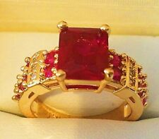 14KT Yellow Gold Plated Big Ruby and CZ Fashion Ring