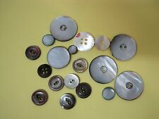 "Mixed Lot 18 Old Mother Of Pearl Buttons Shades of Grey 3/8 - 1"" NICE! Z12"