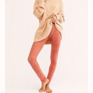 New Free People More Mesh Printed Legging, Orange, Medium, RRP $48
