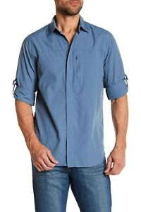 Tommy Bahama Men's Keep it Reel Long Sleeve Shirt Button Front Blue Small S $135