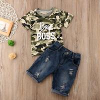 Newborn Toddler Kids Baby Boys Clothes T Shirt Tee Tops +Denim Pants Outfits Set
