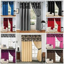 Luxury Damask Curtains Ring Top Eyelet & Pencil Pleat Fully Lined Free Tiebacks