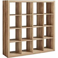 Storage Cube Organizer Weathered Bookcase 16 Cubbies Shelves Closet Furniture