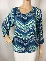 Chico's Knit Top Chico's Size 1 (M) Blue Green Print 3/4 Elastic Sleeves