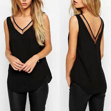 Women Black White Summer Sleeveless V-Neck Chiffon Blouse T-shirt Vest Tank Top